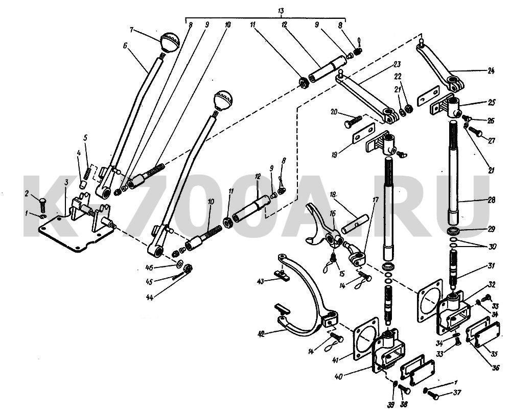 КПП Схема переключения коробки передач трактора к 700